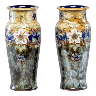 Royal Doulton Art Nouveau Tall Lambeth Vases by Winnie Bowstead - Pair For Sale