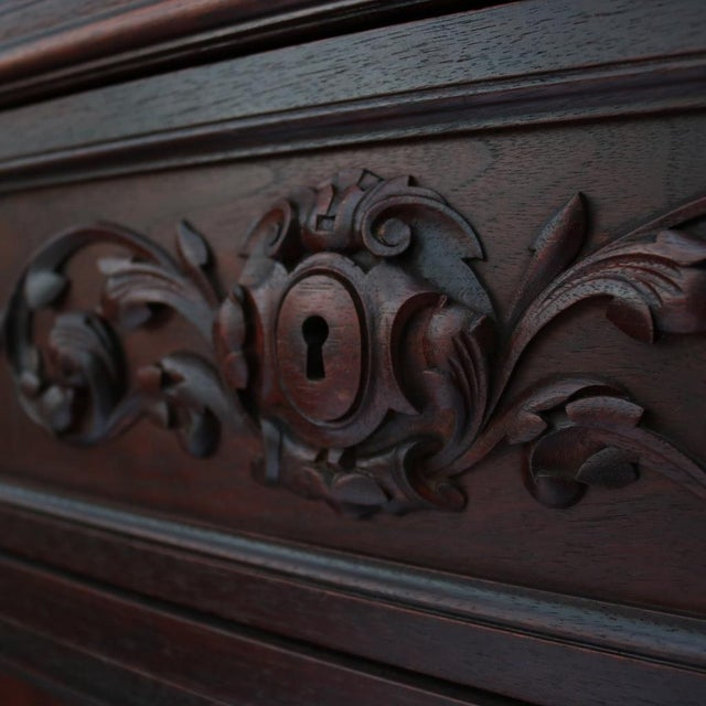 1870 Renaissance Revival Carved Walnut Dresser - Image 7 of 11