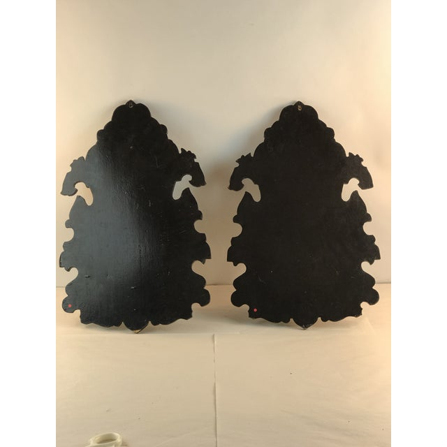 1900s Victorian Japanned Black Mother of Pearl Wall Shelves - a Pair For Sale - Image 4 of 13