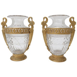 Antique Circa 1870 French Empire Bronze and Cut Crystal Vases - a Pair For Sale