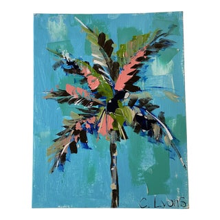 """""""Palm Tree"""" Contemporary Botanical Acrylic Painting For Sale"""