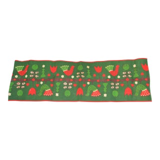 Vintage Mid-Century Scandinavian Small Holiday Table Runner