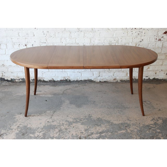Harvey Probber Mid-Century Modern Mahogany Saber Leg Extension Dining Table For Sale - Image 12 of 13