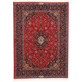 Vintage Persian Kashan Rug with Modern Traditional Style