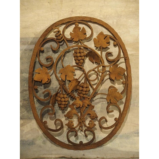Decorative Oval Iron Wall Hanging With Scrolling Grape Vines For Sale - Image 11 of 11