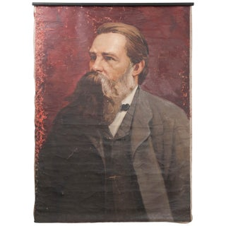 French 19th Century Large Portrait on Canvas For Sale
