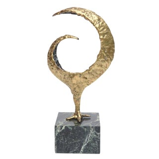 Molten Bronze and Variegated Marble Signed Brutalist Sculpture For Sale