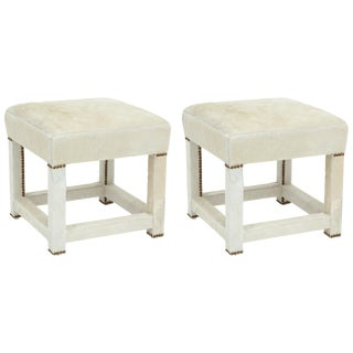 1960s Vintage Ivory White Calfskin Ottomans- A Pair For Sale