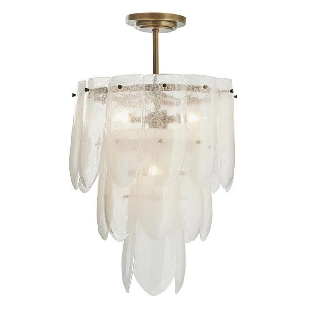 Stylish, modern, contemporary Arteriors Eloise Small Chandelier, beautiful cascading seeded glass discs, antique brass...