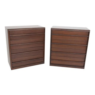 1950s Vintage Robsjohn-Gibbings Bachelor Four Drawer Chests Dressers- a Pair For Sale