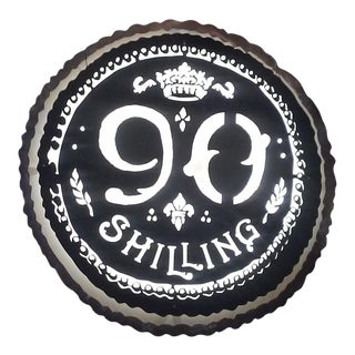 Large Round Metal 90 Shilling Lighted Beer Sign