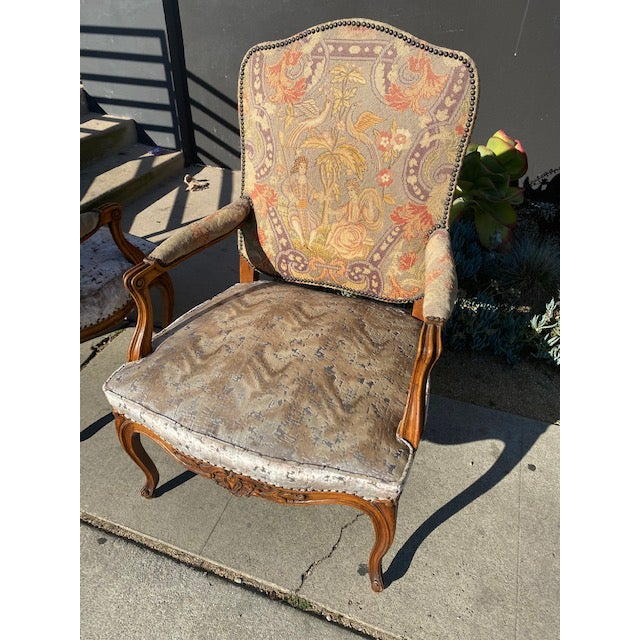 Beige 19th Century French Walnut Petite Point Neelde Point Arm Chairs- A Pair For Sale - Image 8 of 12