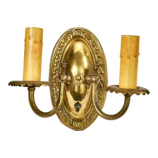 Antique Art Deco Stamped Brass Two Arm Wall Sconce With Twist Knob Switch For Sale