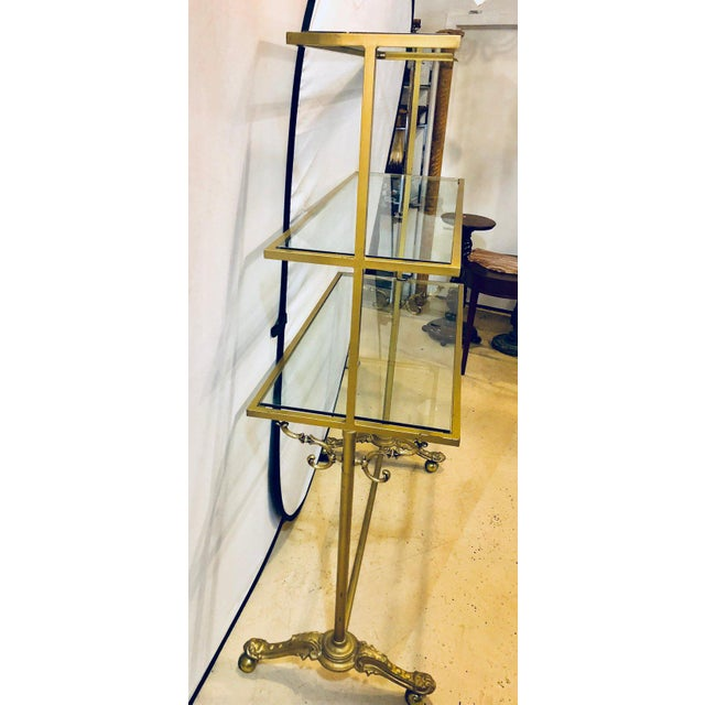 Hollywood Regency Three-Tier Large Bakers Rack Gilt Metal and Glass Shelves For Sale - Image 4 of 10