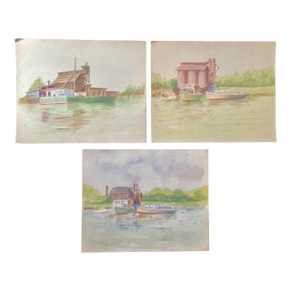 Mid 20th Century Vintage Industrial Water Scene in Watercolor Paining- Set of 3 For Sale