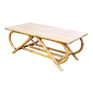 Mid Century Boho Chic Bamboo & Laminate Tabletop Coffee Table