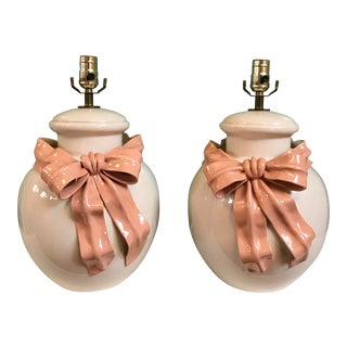 Vintage Ginger Jar Form Lamps With Pink Swag and Bows For Sale