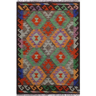 Contemporary Kilim Angeline Brown/Rust Hand-Woven Wool Rug - 2'6 X 4'1 For Sale