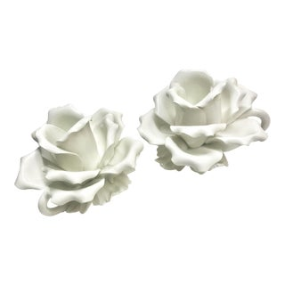 1960s White Roses Porcelain Candle Holders - a Pair For Sale