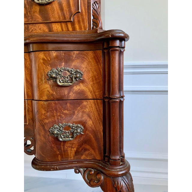 Antique Ca 1900's Georgian Chippendale English Style Mahogany Claw Feet Highboy Dresser For Sale In Miami - Image 6 of 13