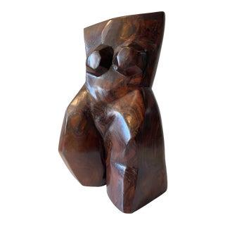 Brutalist Wood Carved Female Torso For Sale