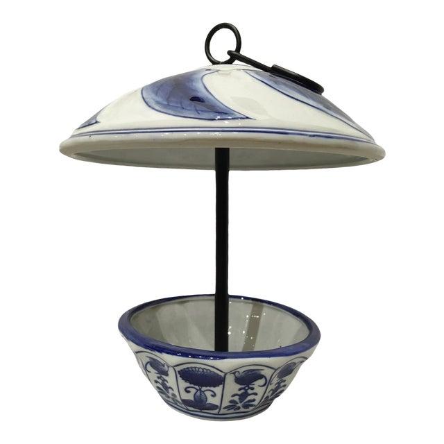Contemporary Cobalt Blue Porcelain Bird Feeder For Sale