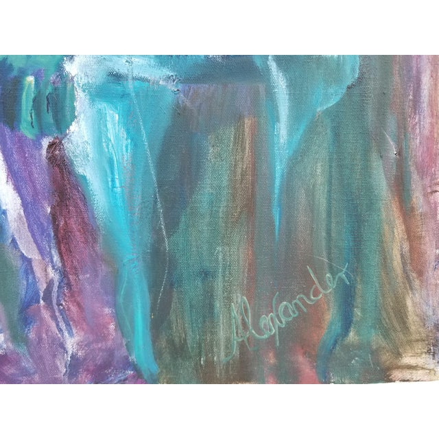 Blue 80's Abstract Nude Woman Painting For Sale - Image 8 of 12