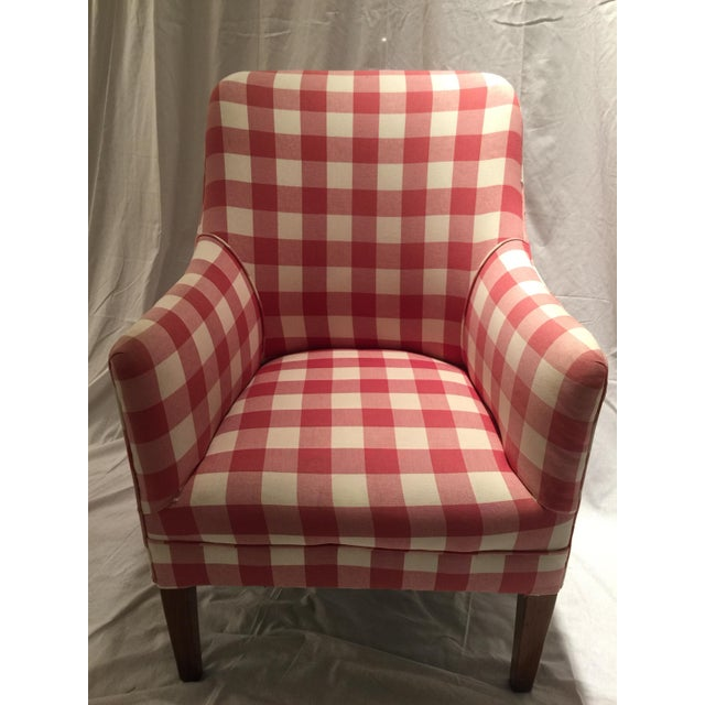 Red And White Buffalo Check Arm Chair Chairish