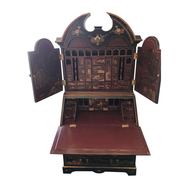 Chinoiserie Chinoiserie Secretary Desk with Cabinet Hutch For Sale - Image 3 of 5