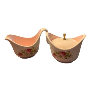 Vintage 1940s Cottage Style Creamer and Sugar Bowl - Set of 2 For Sale
