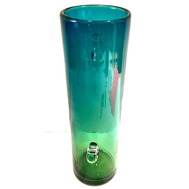 1980 S Blenko Organic Modern Blown Glass Blue And Green