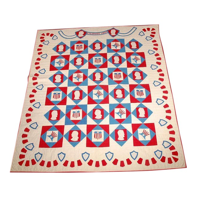 Rare Patriotic Presidential Applique Quilt from 1925 For Sale