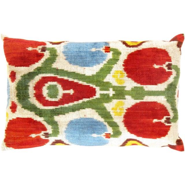 Red & Green Silk Velvet Ikat Pillow - Image 1 of 2