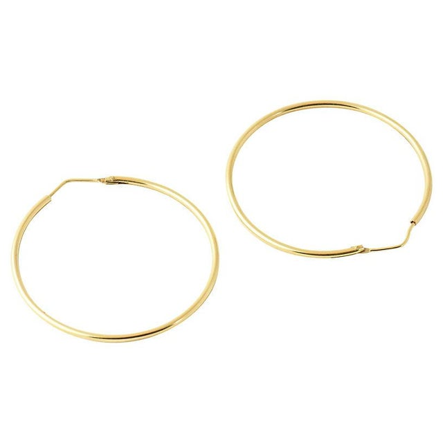 Gold 20th Century Italian 18k Gold Hoop Earrings - a Pair For Sale - Image 7 of 8