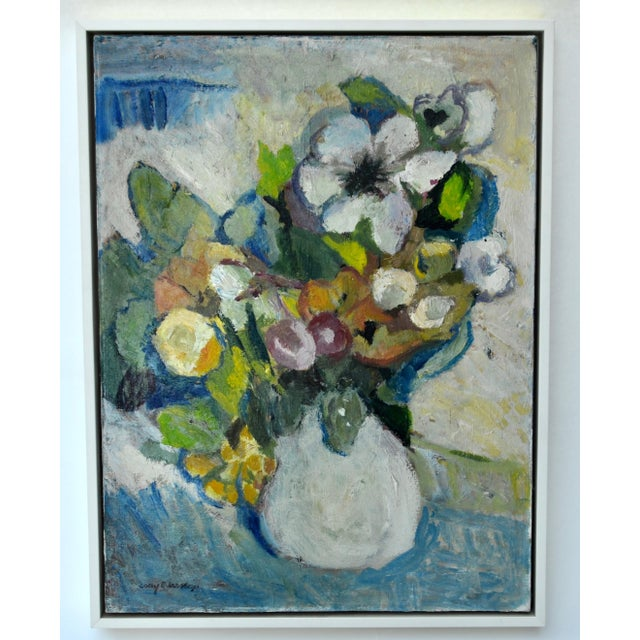 Mid 20th Century Mid Century Oil on Canvas Painting of Flowers in a Vase For Sale - Image 5 of 5