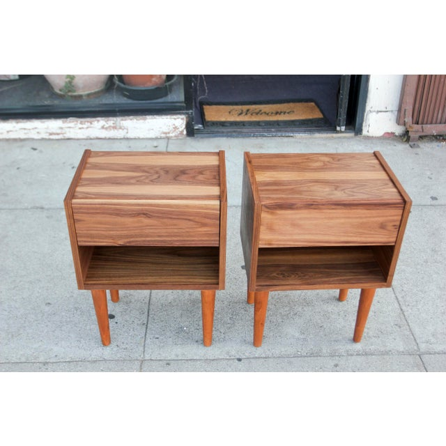 Not Yet Made - Made To Order Mid-Century Modern Walnut Night Stands - a Pair For Sale - Image 5 of 12