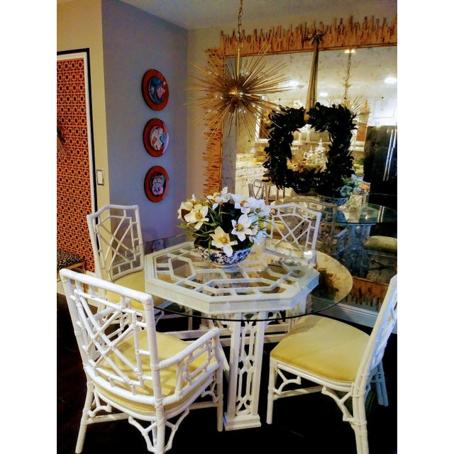 Yellow Set of 4 Palm Beach Regency White Chippendale Fret Work Dining Room Chairs For Sale - Image 8 of 8