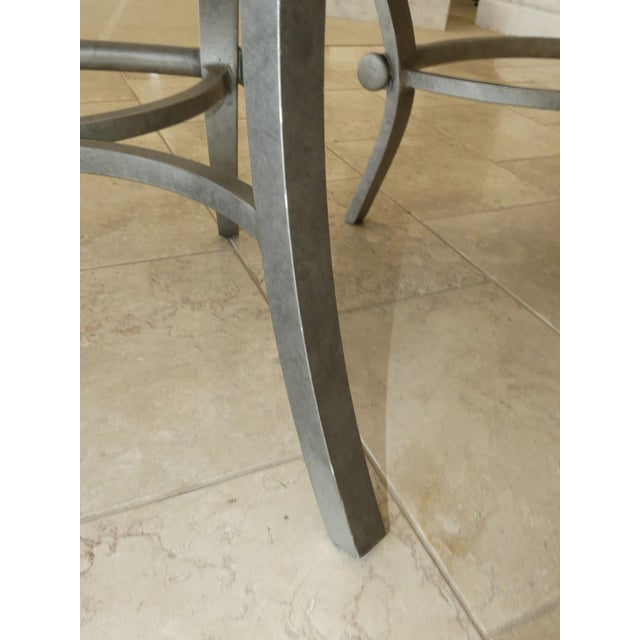 1990s Modern Biedermeier Style Metal Counter Stools - Set of 3 For Sale - Image 11 of 13