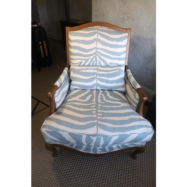 Henredon Club Chair with Detailed Cross Pattern Back with Bolster Pillow. Repainted Antique Gold Finish on Wood....
