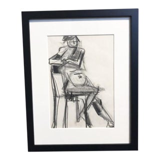 1970s Figurative Charcoal Drawing