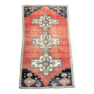 1960s Vintage Turkish Oushak Faded Handmade Traditional Floor Rug- 3′7″ × 6′6″ For Sale