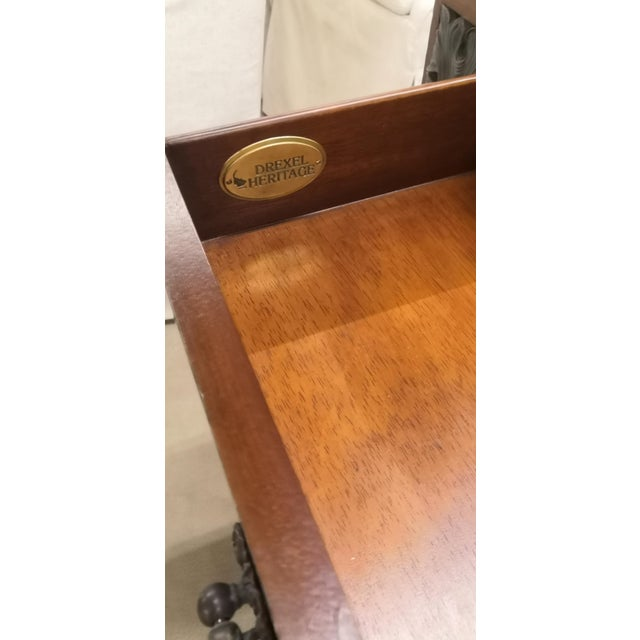 Late 20th Century Empire Drexel Heritage Marble Top Solid Wood Square Side Table For Sale - Image 5 of 12
