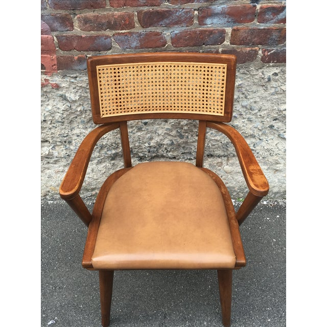 Mid-Century Changebak Cane & Wood Accent Chair - Image 4 of 7