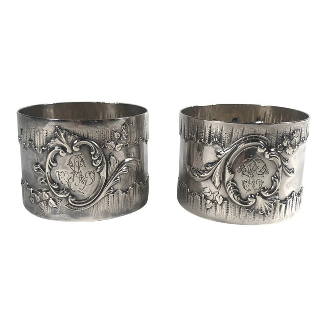 19th Century French Henri Sufflot Minerva Silver Napkin Rings - a Pair For Sale
