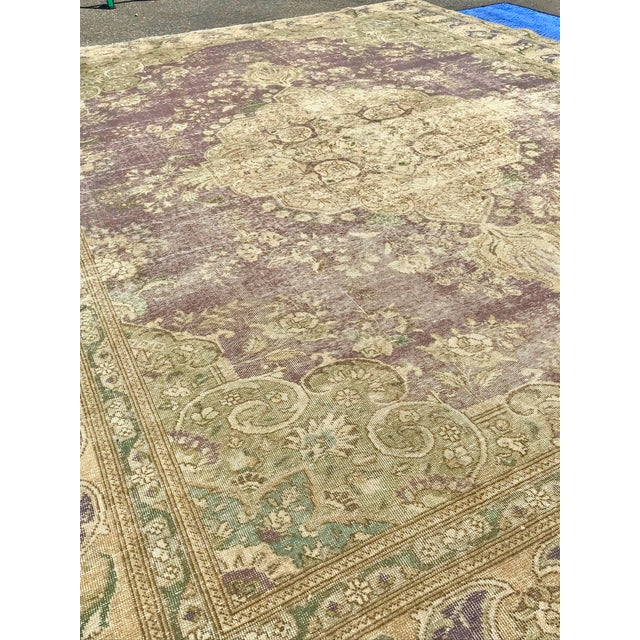 Large Antique Turkish Plum, Green, Beige Wool Rug - 9′5″ × 12′5″ For Sale - Image 11 of 13