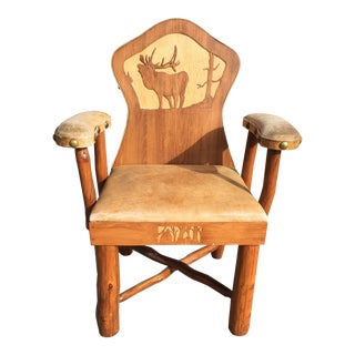 Carved Leather Western Chair Cowboy Cabin Molesworth Style For Sale