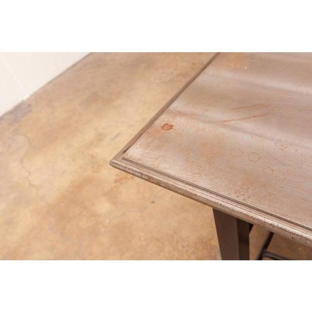 Modern Industrial Steel Desk Work Table For Sale - Image 4 of 9