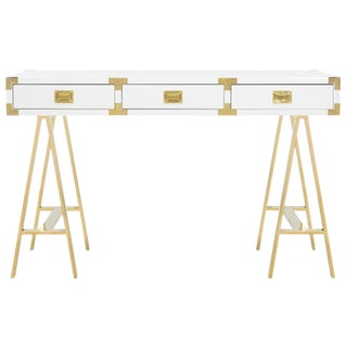 Campaign Pasargad Firenze Collection Lacquer & Stainless Steel Writing Desk For Sale