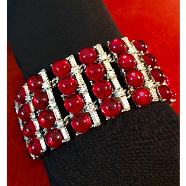 Art Deco 1960s Red Glass Cabochon and Rhinestone Cocktail Bracelet For Sale - Image 3 of 5