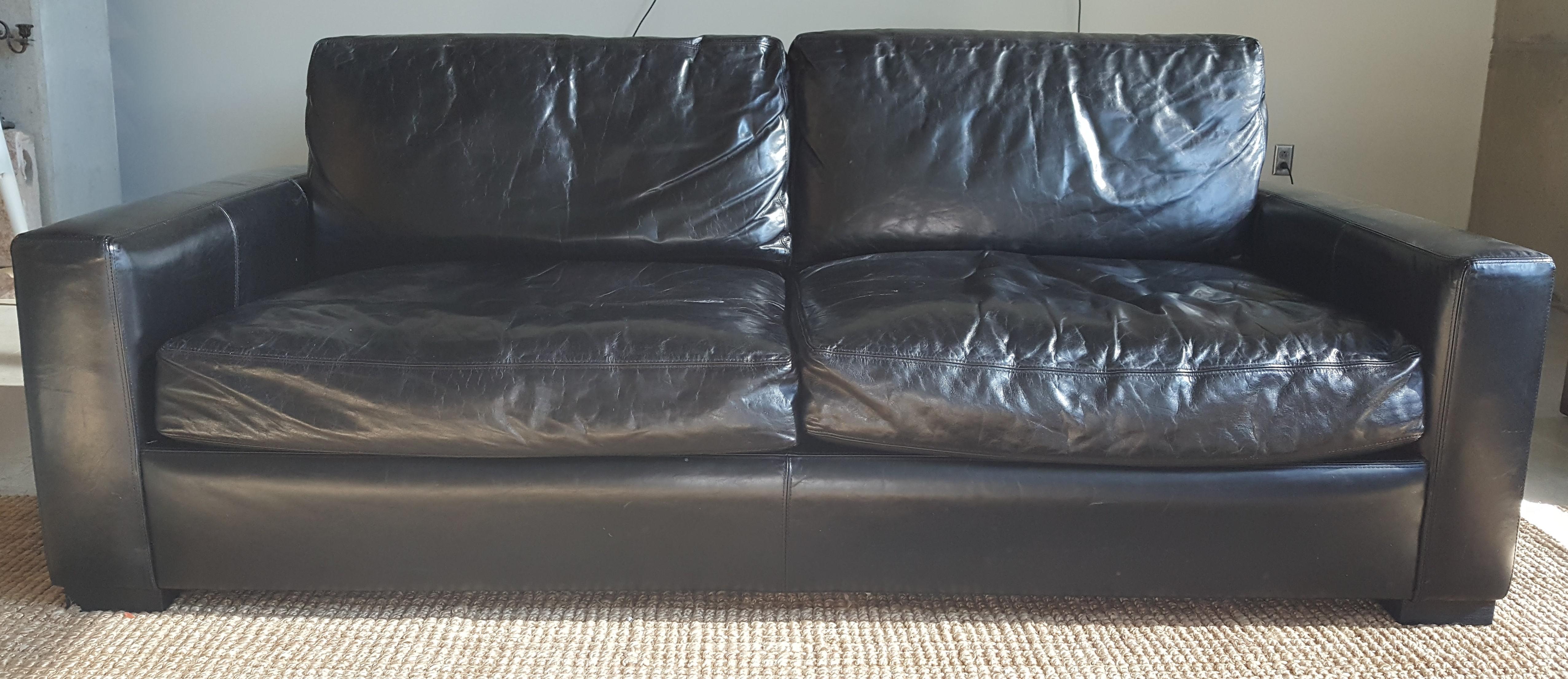 Restoration Hardware Leather Maxwell Sofa   Image 2 Of 8
